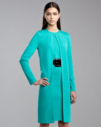 Milano Knit Long Topper Jacket, Jade