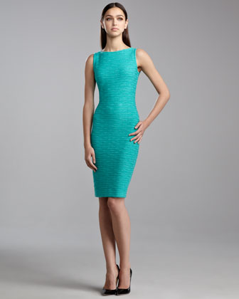 New Shantung Knit Sleeveless Dress, Jade