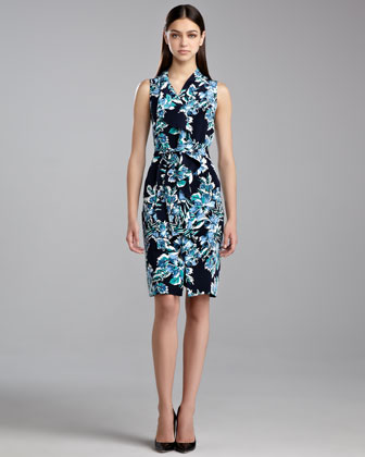 Hibiscus-Print Ruffle Dress