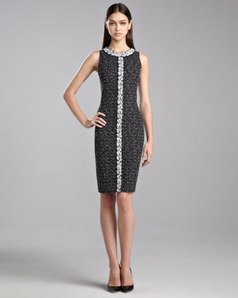 Donegal Knit Sleeveless Dress, Caviar/White