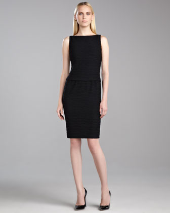 New Shantung Knit Sleeveless Dress, Caviar