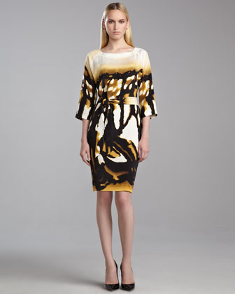 Mariposa-Print Dress, Caviar/Yellow