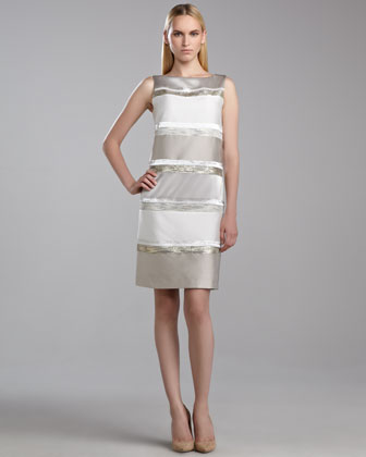 Beaded Colorblock Evening Shift Dress, Limestone