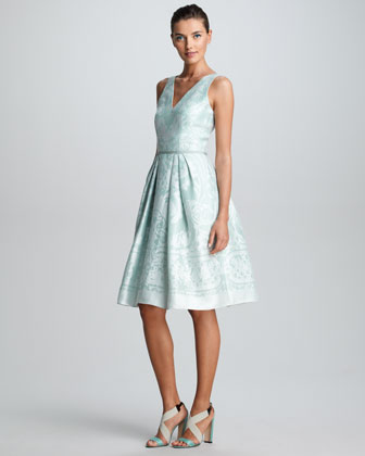 Baroque Devore Dress, Atlantic