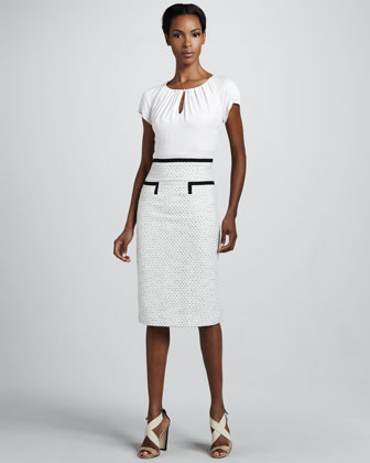 Tweed-Skirt Dress, Ivory