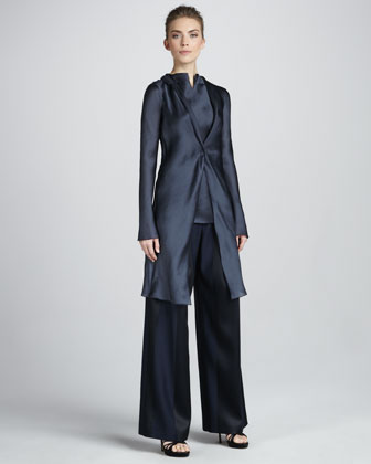 Long Satin Coat, Sleeveless Tunic, Paneled Wide-Leg Trousers