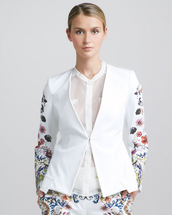 Floral-Sleeve Jacket, White/Multi