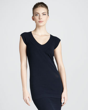 Cap-Sleeve Tunic, Navy