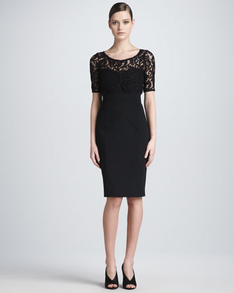 Lace-Top Half-Sleeve Sheath Dress