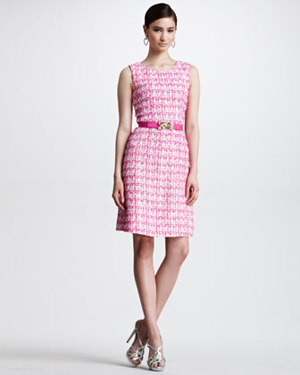 Sleeveless Tweed Dress, Shocking Pink