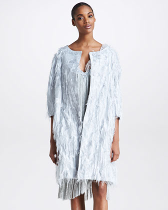 Fringed Taffeta Coat, Gray