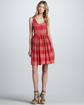 Sleeveless Striped Silk Dress