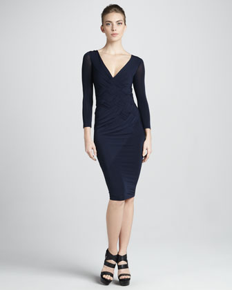 Woven-Bodice Three-Quarter-Sleeve Dress, Navy