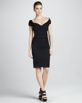 Sculpted Draped Cap-Sleeve Dress, Black