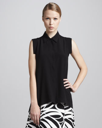 Cap-Sleeve Button-Front Blouse, Coal