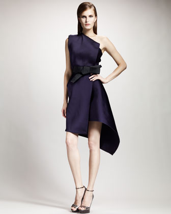 One-Shoulder Duchesse Techno Dress, Violet