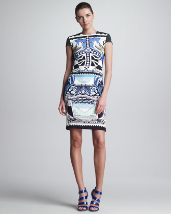 Printed Fitted Cap-Sleeve Dress, Multicolor