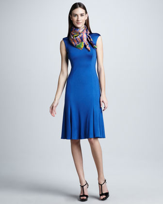 Cap-Sleeve Easy-Skirt Dress, Windsor Blue