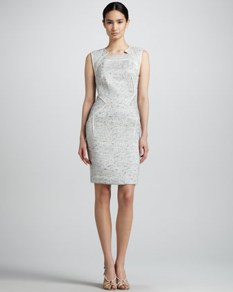 Sleeveless Tweed Sheath Dress, Silver/Blue