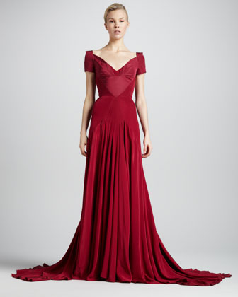 Off-the-Shoulder Sweetheart-Neck Gown, Tuscan Red