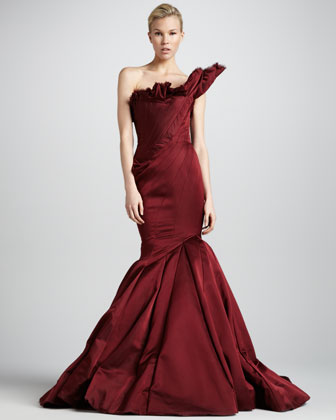 Asymmetric Satin Wrap Gown, Burgundy