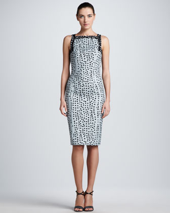 Polka-Dot Jacquard Sheath Dress, Cloud/Black