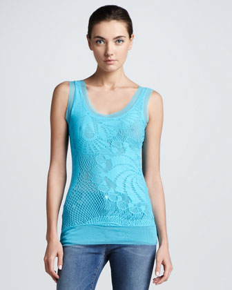 Tulle-Trim Lace Tank Top