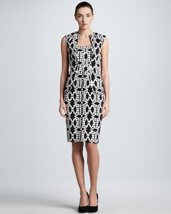 Mirror Image Jacquard Dress, Black/Ivory