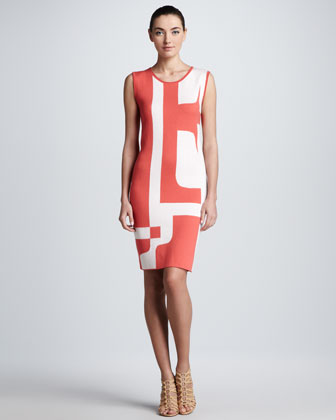 Logo-Knit Dress, Pastel Red