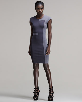 Tone-on-Tone Intarsia Sheath Dress