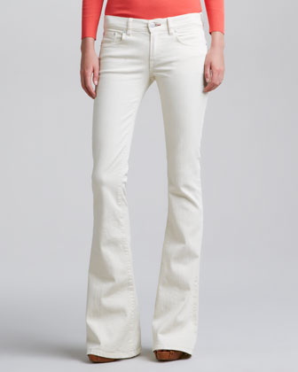 Mod Boot-Cut Jeans, Faded Caliper