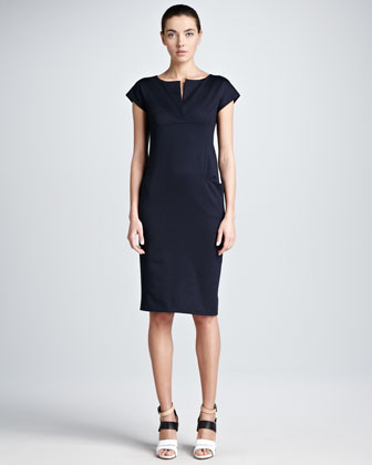 Bib-Detail Jersey Sheath Dress