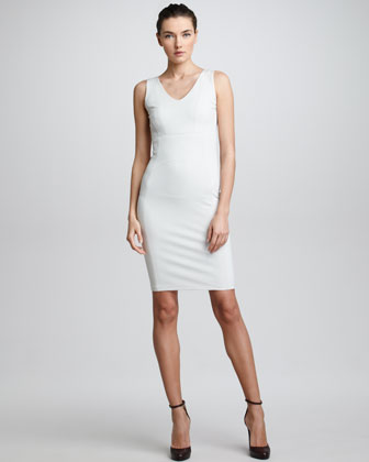 Seamed Sleeveless Jersey Sheath Dress, Light Beige