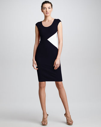 Colorblock Insert Sheath Dress, Navy/White
