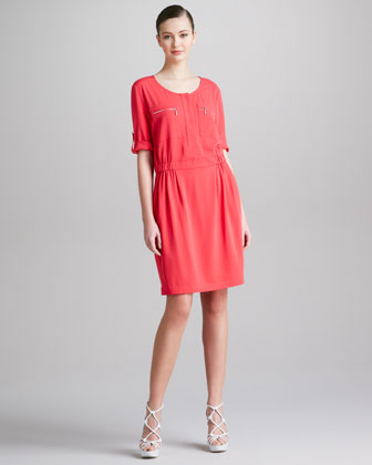 Pocketed Silk Shirtdress, Dragonfruit