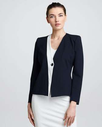 Contrast-Trim Jacket, Navy