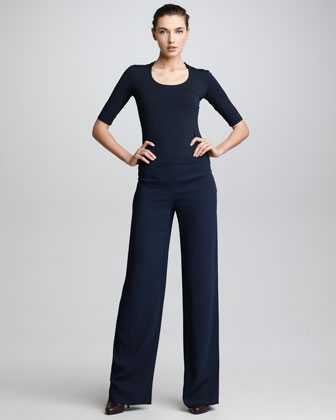 P30 Wide-Leg Crepe Pants, Navy