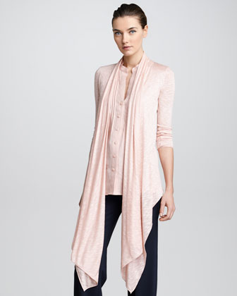 Heather Jersey Draped Open Cardigan, Coral