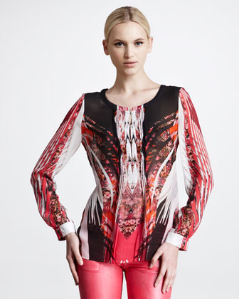 Printed Georgette Blouse, Rose/Black