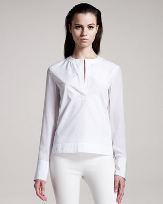 Silk-Trim Poplin Blouse