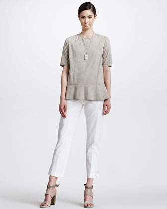 Cotton Twill Cropped Pants, Vanilla