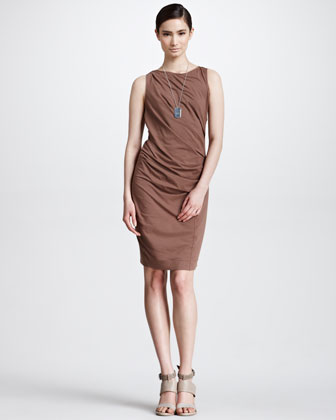 Draped Cotton Jersey Dress, Kangaroo
