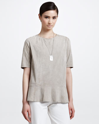 Suede Short-Sleeve Peplum Top, Rope