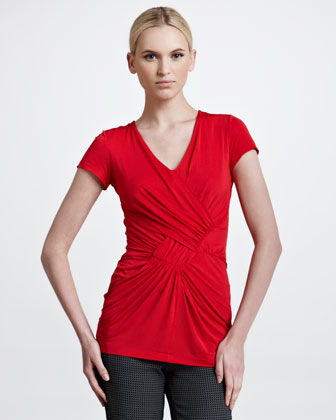Mock-Wrap Short-Sleeve Tunic, Red
