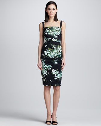 Lily-Print Ruched Tank Dress