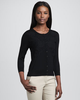 Embroidered Cardigan, Black