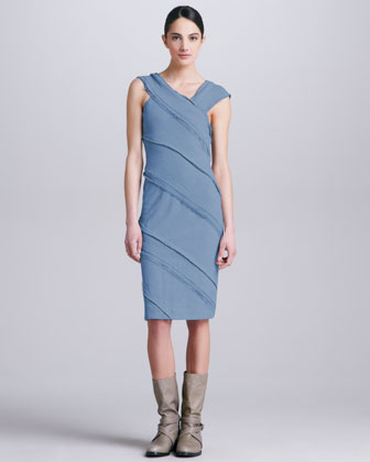 Shirred Asymmetric Dress, Tempest