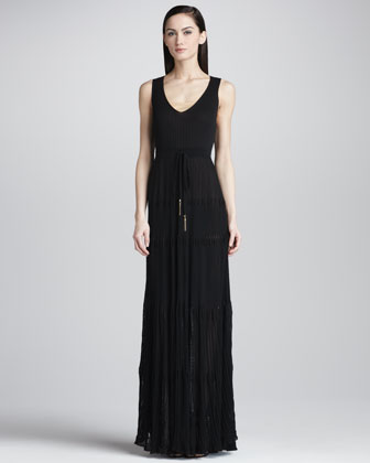 Gauzy Knit Maxi Dress, Black