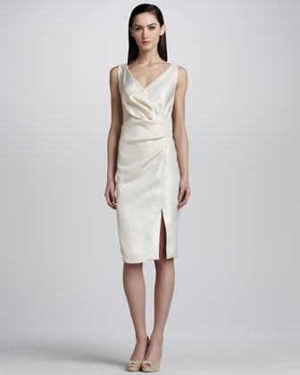Wrap Front Silk Faille Cocktail Dress, Natural