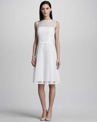Geometric Lace Dress, White